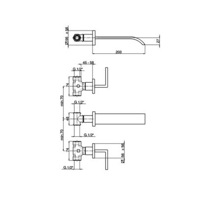 Cisal Wave 3-Loch Unterputz Waschtischbatterie