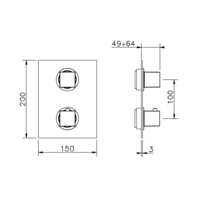 Cisal Wave Sichtteil 3 Wege Unterputz-Brause-Thermostatmischer