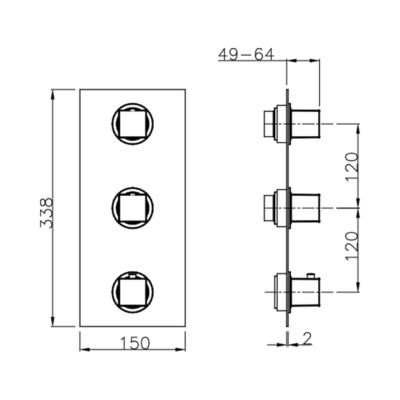 Cisal Wave Fertigteilset Unterputz Brause-Themostat. 2 Funktionen