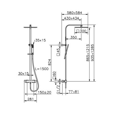 Cisal Wave 2-Funktionen Thermostatmischer-Brauseset