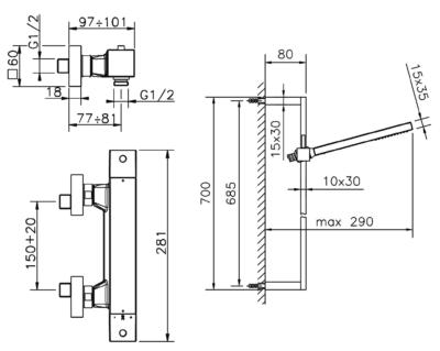 Cisal Wave Brause-Thermostatmischer mit Brausestange