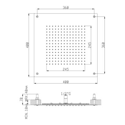 Cisal Zen Shower Unterputz Kopfbrause für Hängedecke 400x400 mm INOX